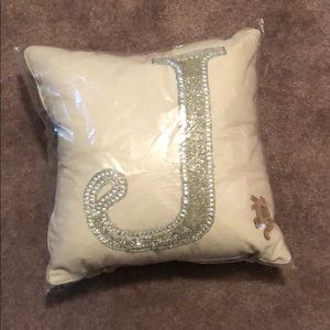 J initial Beaded Throw Pillow
